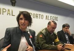 Comandante Nádia, Cel. Amorim e vereador Cassiá, durante a reunião. Foto: Ana Cristina Rosa
