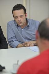 Reunião sobre possíveis mudanças no transporte coletivo, como a baldeação da Linha Herdeiros e de outras oito linhas da região de Porto Alegre. Na foto, o presidente da EPTC, Marcelo Soletti.