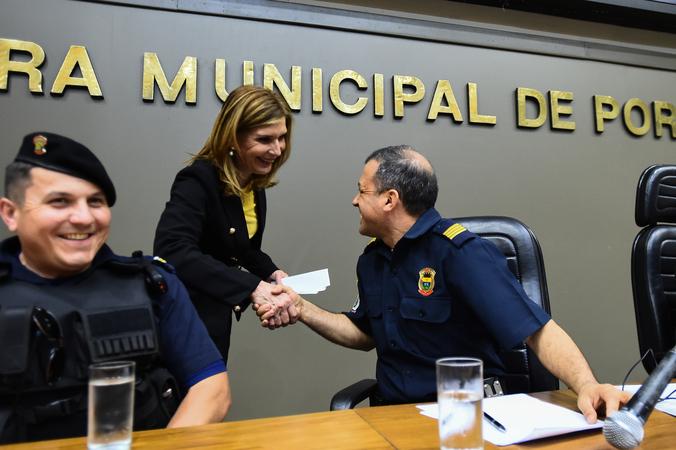 Homenagem aos 125 anos da Guarda Municipal. Na foto, vereadora Monica Leal, proponente da homenagem