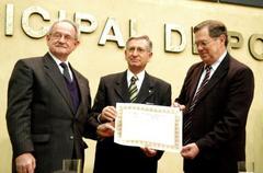 Stampe, Nedel e Sebenelo na cerimônia que homenageou a Igreja Luterana  Foto: Juliana Freitas