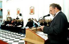 Vendruscolo discursa na sede do GrandeOriente na homenagem à maçonaria Foto: Caroline da Fé