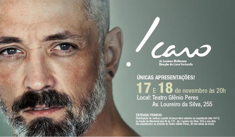 Peça teatral Ícaro, com Luciano Mallmann.