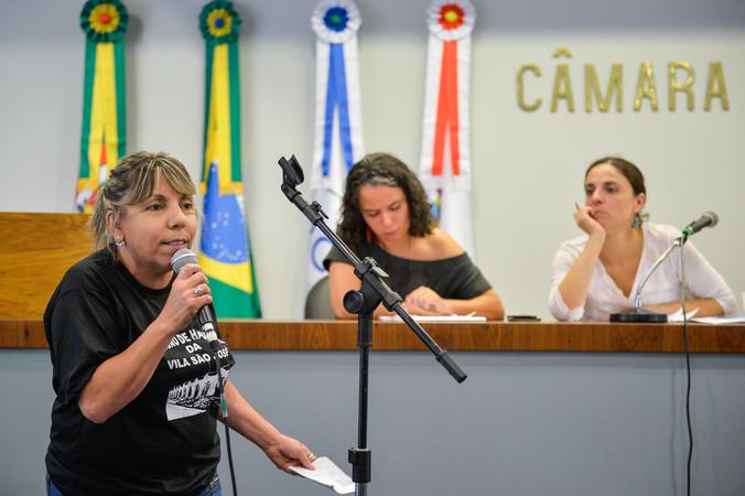 Reunião de encerramento e apresentação do relatório das atividades desenvolvidas pelo Grupo de Trabalho sobre as etapas do Projeto Federal Minha Casa Minha Vida e consequentes desdobramentos. Na foto, a representante da Comissão de Habitação da Vila São josé, Elenira Martins Pereira.