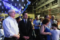 Presidente Valter Nagelstein participa do Iom Hazikaron e Iom Haatzmaut - 70 anos do Estado de Israel no Colégio Israelita. Na foto, o presidente Valter Nagelstein com o presidente da Federação Israelita RS Zalmir Chwartzmann.