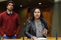 Felipe e Michele estiveram hoje na Tribuna Popular da Câmara Municipal
