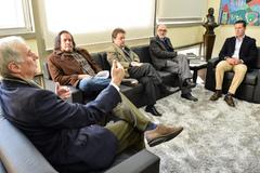 Presidente Valter Nagelstein recebe visita de cortesia do SINDHA Representantes FNHRBS - Carlos Henrique Coutinho Schmidt ; Ricardo Krüger Ritter, Reinaldo Ritter, Daniel Antoniolli e Jornalistta Armando Burd