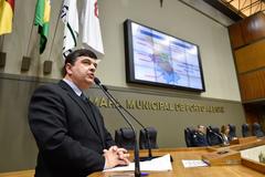 Período de Comunicações Temático para exposição do trabalho desenvolvido pelos bombeiros, especialmente o Plano de Prevenção contra Incêndio – PPCI. Na foto, o vereador José Freitas.