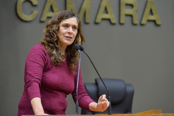 Movimentação de plenario. Na foto, a vereadora Sofia Cavedon.