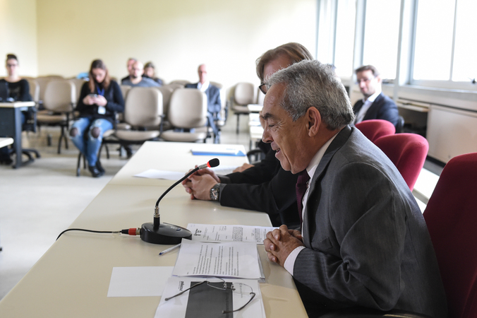 Reunião Ordinária de Prestação de Contas do Balanço Financeiro em conjunto com a PROCEMPA. Na foto, o Presidente Paulo Roberto Miranda.