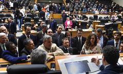 Líderes reunidos com o presidente da Casa na sessão desta quarta-feira