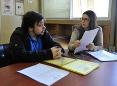 Reunião da Comissão de Saúde e Segurança do Trabalho. Na foto, o atual presidente da CSST, Diego Marques Piccini e a ex presidente, Denise Rizzotto.