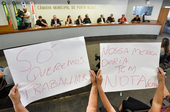 Reunião sobre a retirada dos vendedores ambulantes das ruas do Centro Histórico de Porto Alegre.