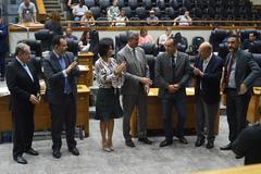 Barboza foi saudado pelos vereadores após manifestação na tribuna