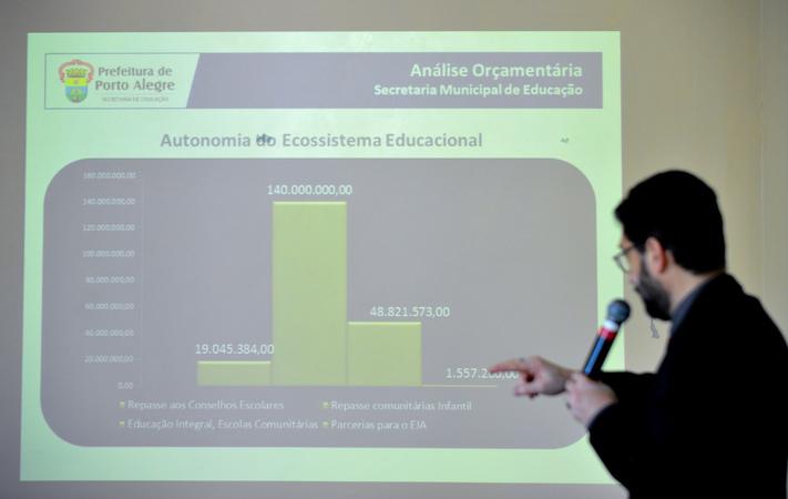 Reunião para debater os custos da educação em Porto Alegre. Na foto, o secretário da Smed, Adriano Naves de Brito.