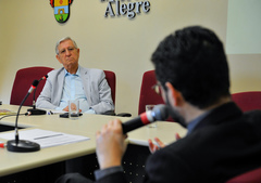 Reunião para debater os custos da educação em Porto Alegre. Na foto, o vereador João Carlos Nedel e o Secretário da Smed Adriano Naves de Brito.