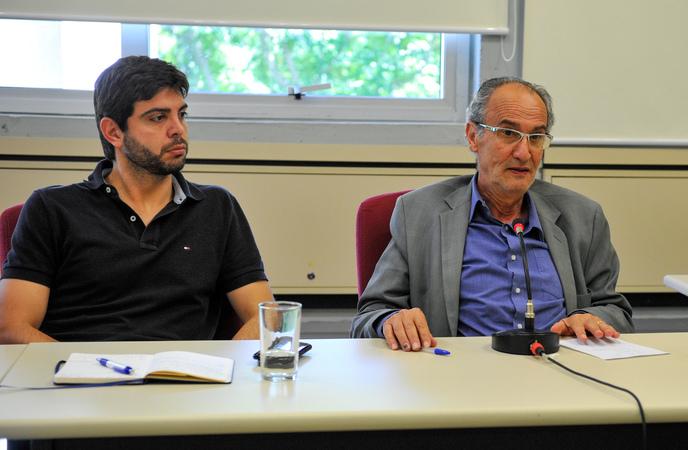 Reunião para debater os custos da educação em Porto Alegre. Na foto, os vereadores Felipe Camozzato e Airto Ferronato.