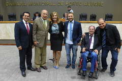 Alvoni Medina, Reginaldo Pujol, Mônica Leal, Mendes Ribeiro, Paulo Brum e Paulinho Motorista (d)