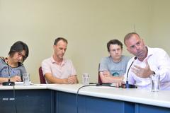 Reunião sobre Justiça Restaurativa e Políticas de Pacificação. Na foto, ao microfone, o juiz Fábio Vieira Heerdt.