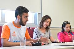 Reunião sobre Justiça Restaurativa e Políticas de Pacificação. Na foto, o representante do Centro da Juventude Restinga, Brian Cavalheiro.