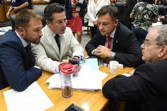 Movimentações de plenário. Na foto, os vereadores Mendes Ribeiro, Valter Nagelstein e Idenir Cecchim e o secretário Bruno Vanuzzi.