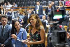 Movimentações em plenário. Na foto, as vereadoras Sofia Cavedon e Fernanda Melchiona e o vereador Professor Alex Fraga.