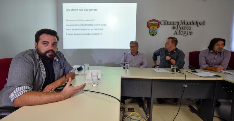 Reunião para tratar da UBS Vila dos Sargentos. Com a fala, o representante da SMS, Thiago Frank.