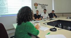 Reunião do grupo de Trabalho da Comissão Especial Legislativa junto de equipe técnica da Câmara. Na foto, os vereadores Mendes Ribeiro, Felipe Camozzato e Hamilton Sossmeier.