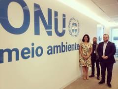 Oficial do Programa Economia e Desenvolvimento Sustentável da ONU Meio Ambiente, Regina Cavini, recebe vereador André Carús e chefe de gabinete Leonardo Prates em Brasília