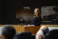 Sessão Solene em homenagem aos 71 anos da declaração de independência do Estado de Israel. Na foto, a presidente Mônica Leal na tribuna