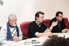 Reunião sobre os espaços municipais da cultura. Na foto, vereadores Engenheiro Comassetto, Professor Alex Fraga e Alvoni Medina