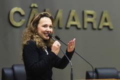 Período de Comunicações em homenagem aos 15 anos da Revista Voto. Na foto, a diretora executiva do Grupo Voto, Karim Miskulin