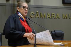 Movimentação de plenário. Na foto, vereadora Lourdes Sprenger.