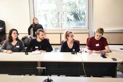 Reunião conjunta Cece e Cosmam para debater proposta de campanha de divulgação científica e ambiental nos ônibus. Na foto, membros do Pet Biologia da Ufrgs