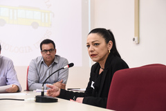 Reunião conjunta Cece e Cosmam para debater proposta de campanha de divulgação científica e ambiental nos ônibus. Na foto, representante da Carris
