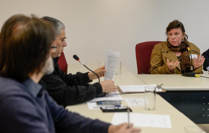 Comissão debate a regulamentação das feiras orgânicas no município de Porto Alegre. Na foto, com a fala, a Sra. Ana Nardi.