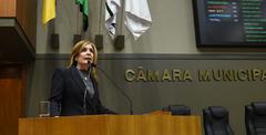 Presidente Mônica Leal (PP) ocupou a tribuna para tratar do Imesf