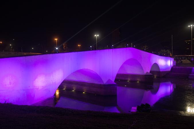 Presidente Mônica Leal participa de solenidade de abertura da campanha Outubro Rosa. Na foto, Ponte dos Açorianos iluminada