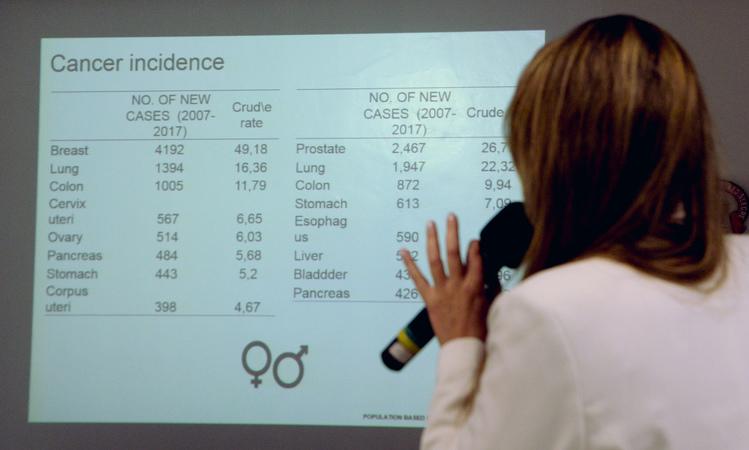 Comissão discute as políticas públicas voltadas para o Outubro Rosa na Capital. Na foto, com a fala, Tatiana Breyer, representando a SMS.