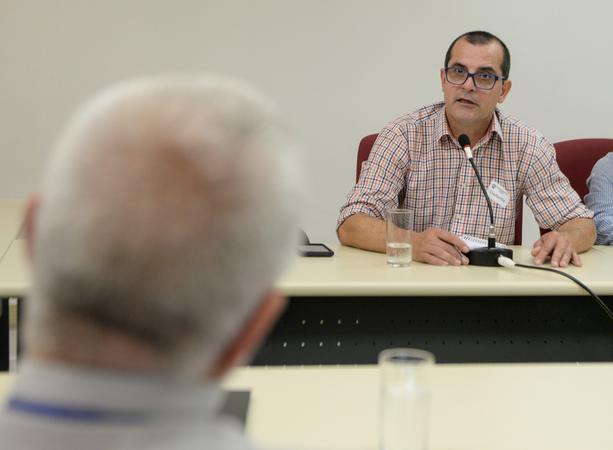 Oitivas da Comissão Especial de Prédios Abandonados. Na foto, com a fala, o Sr. Jaime Benetti, representando a SUSEPE.