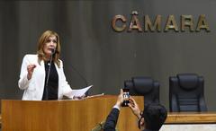 Movimentação de plenário. Na tribuna, vereadora Mônica Leal.