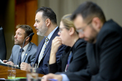 Reunião conjunta das comissões para votação de projetos e retomada do projeto do Orçamento 2020. Ao microfone, o vereador Ricardo Gomes.