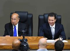 Sessão Especial de Posse do vereador Reginaldo Pujol. Na foto, o novo Presidente, vereador Reginaldo Pujol e o Prefeito Nelson Marchezan.