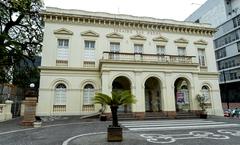 Presidente Reginaldo Pujol visita a estrutura do Theatro São Pedro. Na foto, a fachada do prédio.