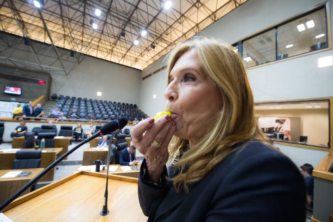 Movimentações no Plenário. Na foto: vereadora Monica Leal realiza apitaço na tribuna.