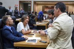 Movimentações em Plenário. Vereadores Mendes Ribeiro, Comandante Nádia, Felipe Camozzato e Valter Nagelstein.