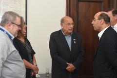 Presidente Reginaldo Pujol realiza visita ao Jornal Correio do Povo. Na foto: vereador Reginaldo Pujol (e) e o Presidente do Grupo Record/RS Sidney Costa (d).