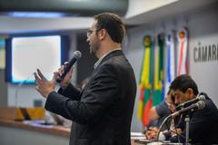Audiência Pública de apresentação do Relatório de Gestão da Saúde, em âmbito municipal, do 3º Quadrimestre de 2019. Com a fala, o Secretário Municipal de Saúde Pablo Stürmer.