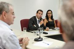 Audiência Pública de apresentação das Metas Fiscais do 3º quadrimestre de 2019. Com a fala, o secretário municipal da Fazenda, Leonardo Busatto.