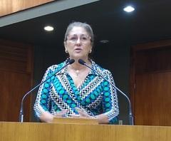 Vereadora Lourdes fala sobre projeto de lei na tribuna da Câmara, em 26/02/20