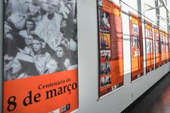 Dia da mulher, exposição do Centenário do dia 8 de março.